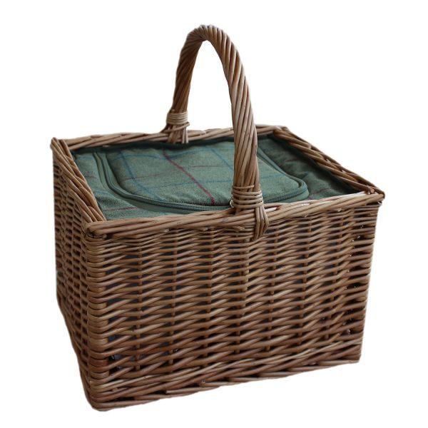 Deluxe Butcher's Basket With Green Tweed Cooler Bag 1