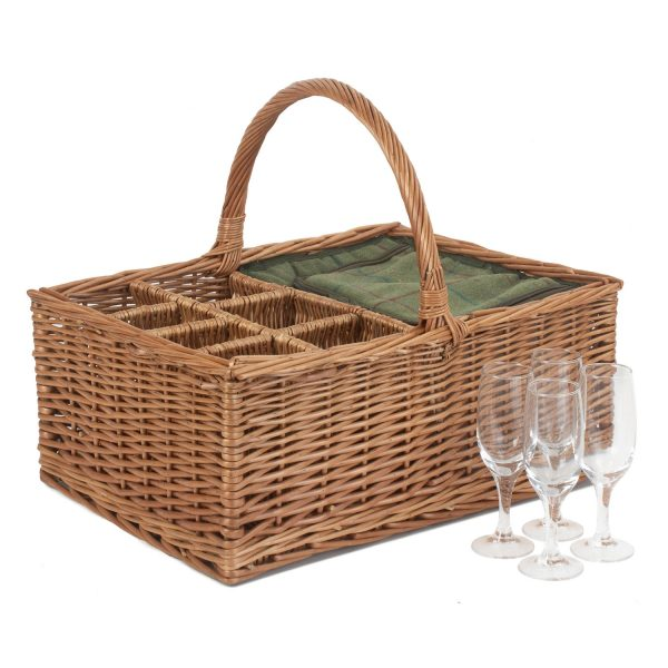 Green Tweed Field Basket with 4 Glasses 1