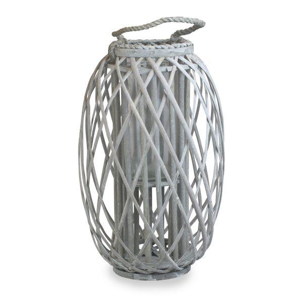 Large Grey Wash Willow Candle Lantern 1