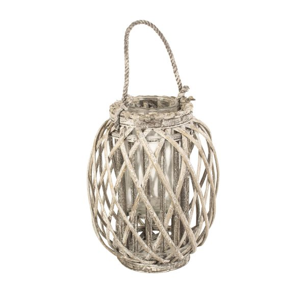 Small Grey Wash Willow Candle Lantern 1
